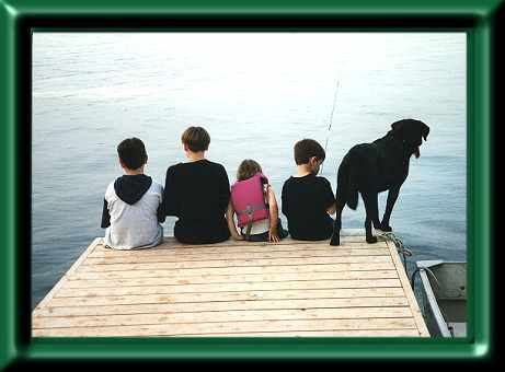 Kids fishing off the dock